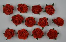 RED Mulberry Paper Roses (only flower head)